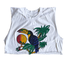 VINTAGE TROPICAL TUCAN CROP TOP