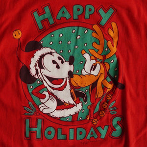VINTAGE 80'S MICKEY HAPPY HOLIDAYS TEE