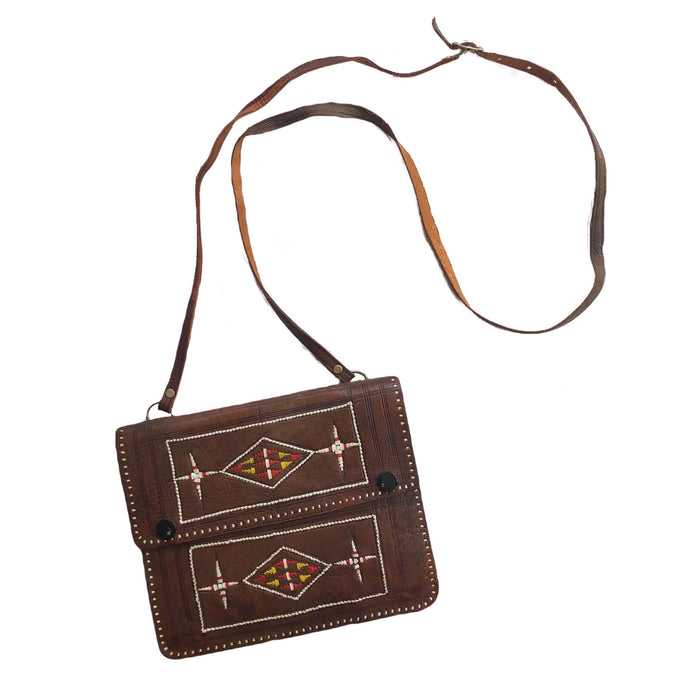 VINTAGE LEATHER WOVEN CROSSBODY BAG