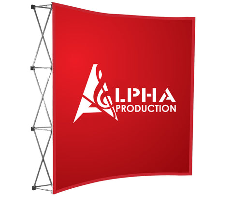 Alpha Production curved banner wall