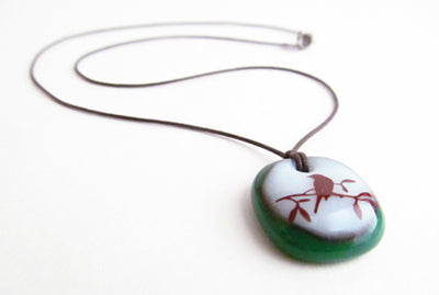 Leila Cools Bird Necklace Handmade Glass