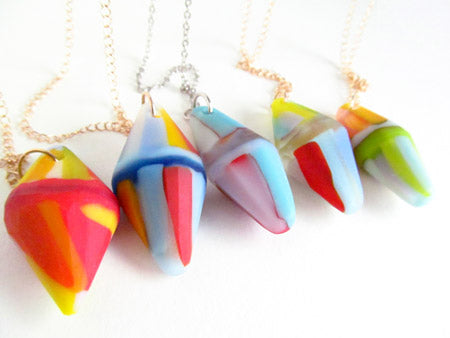 one of a kind recycled glass gems, matte faceted glass on long ld chain