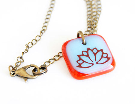 lotus flower necklace with brass chain