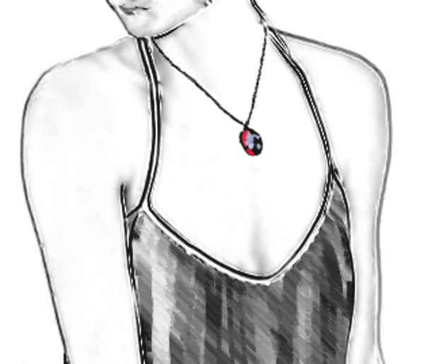 "Illustration of 18"" necklace length."