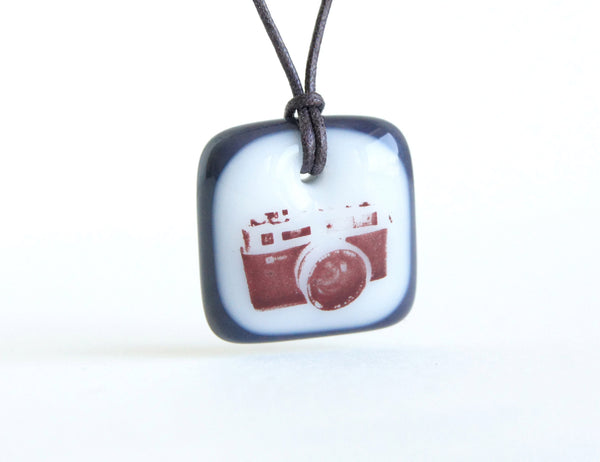 35mm black and white film camera necklace