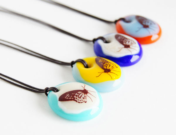 Limited batch of colourful glass butterfly necklaces