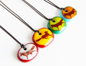 Limited batch of colourful glass fox necklaces