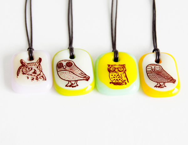 Limited batch of colourful owl panda necklaces