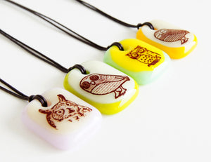 Limited batch of colourful glass owl necklaces
