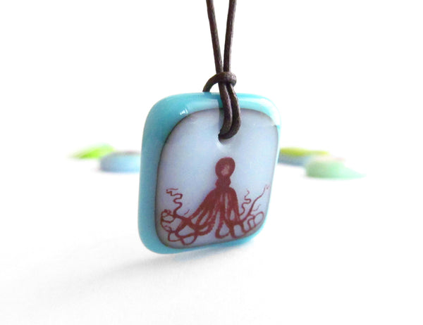 Octopus pendant necklace in turquoise and cloud white colours.