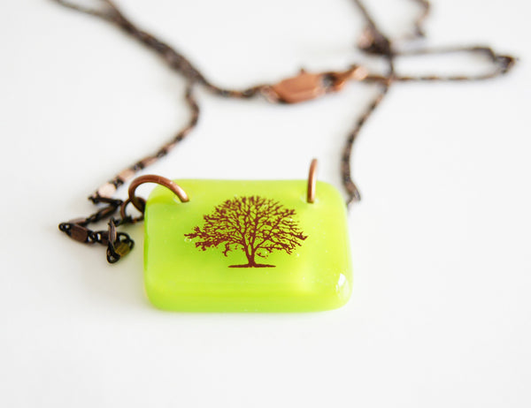 Tree necklace in spring green on antiqued copper chain