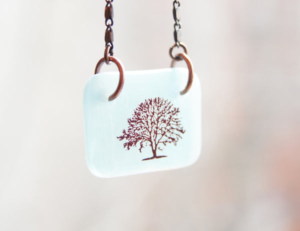 Light Blue tree of life necklace on delicate chain