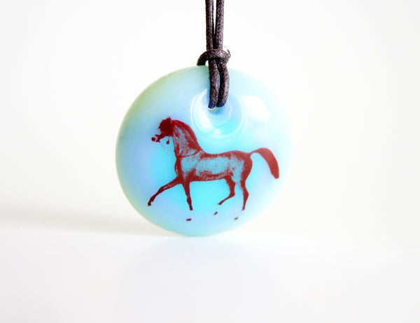 arabian horse necklace in blue, aquamarine and mint green