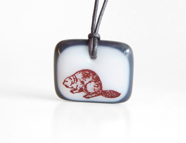fun handmade beaver necklace in white and charcoal