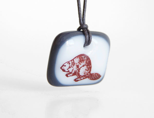 handmade cute beaver pendant necklace