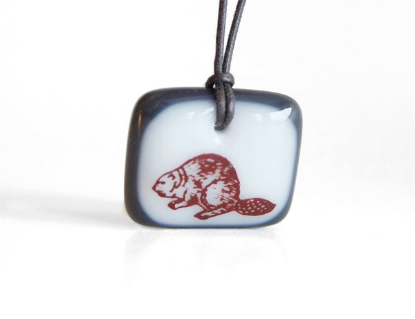 Canadian beaver necklace handmade in white and charcoal glass
