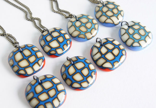 Big Bold Squares Necklace - Royal Blue Red
