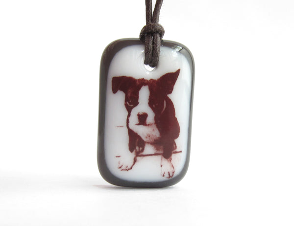 Boston Terrier Puppy Necklace in black and white.