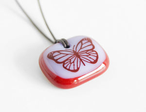 Red butterflies jewellery handmade in Canada.