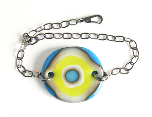 One of a kind adjustable art glass bracelet handmade by Leila Cools