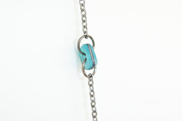 Blue Copper Patina Glass Piece Necklace, adjustable long chain