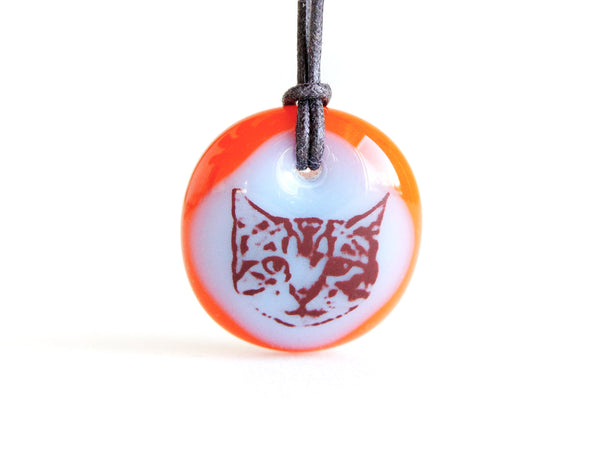 Cute cat necklace in ice blue and red