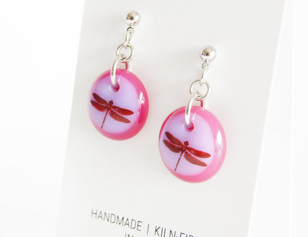 pink dragonfly earrings handmade in glass