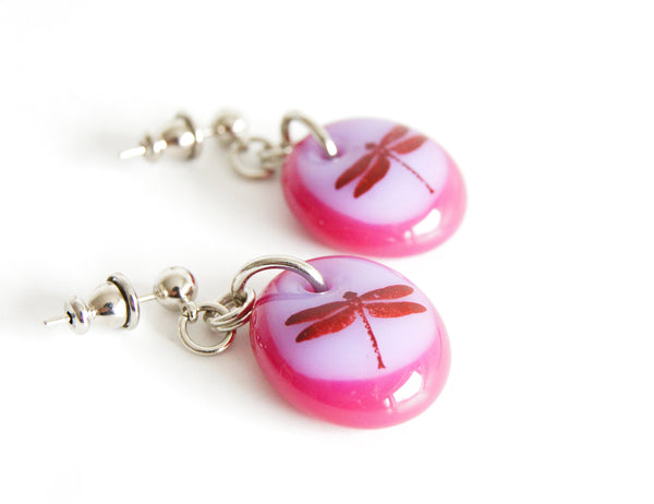 cute pink dragonfly drop earrings