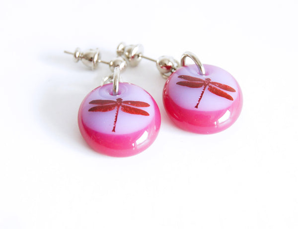 dragonflies on rose pink and lavender  glass drops