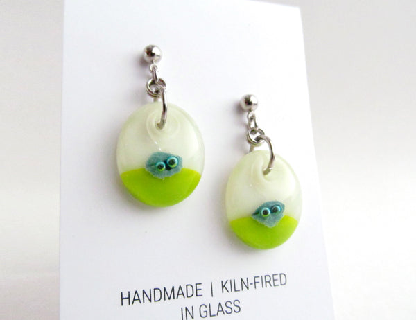 Bubble Dot Earrings - Cream and Light Olive