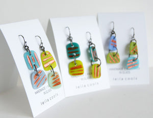 fun copper stripe earrings in blues and greens