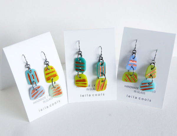 one of a kind art jewelry handmade glass earrings