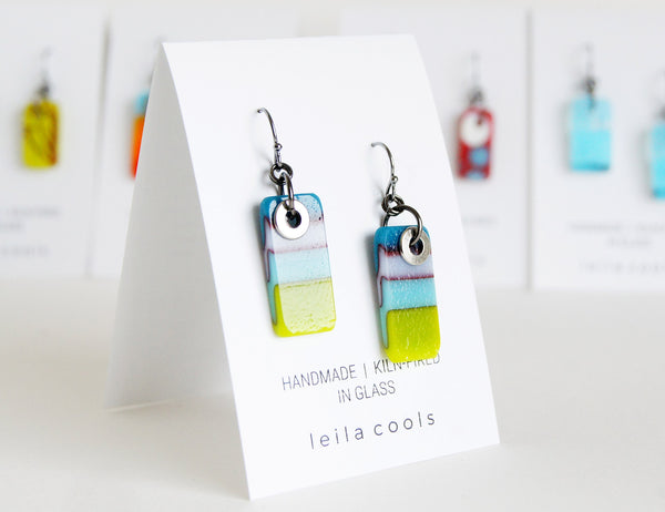 delicate rectangle glass earrings and blue and green