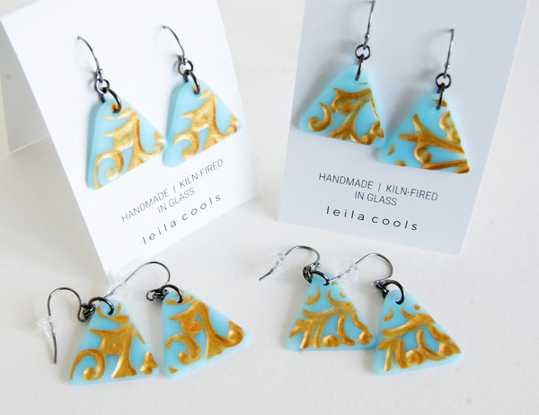 small batch artisan earrings in pale aqua and gold
