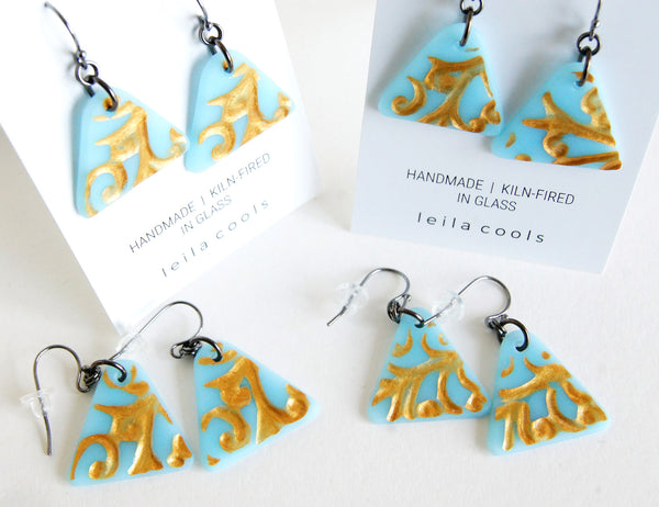 handmade boho style triangle glass drop earrings
