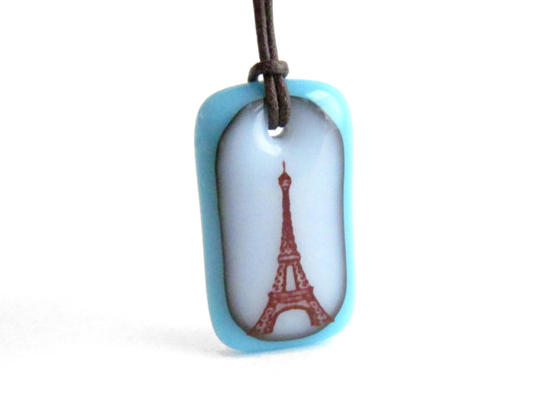 Eiffel Tower Necklace in aquamarine blue and milk white