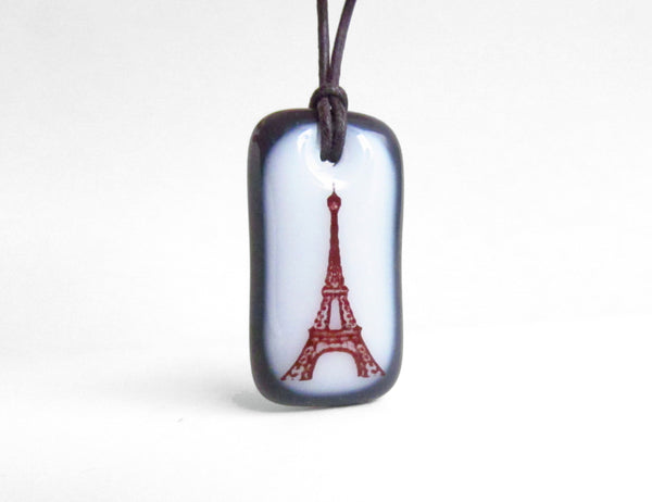 Eiffel Tower Necklace in Charcoal Grey and White.