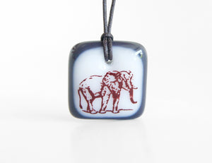 Elephant pendant necklace handmade in glass.