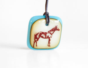 Equestrian Necklace in vintage turquoise and caramel colours.