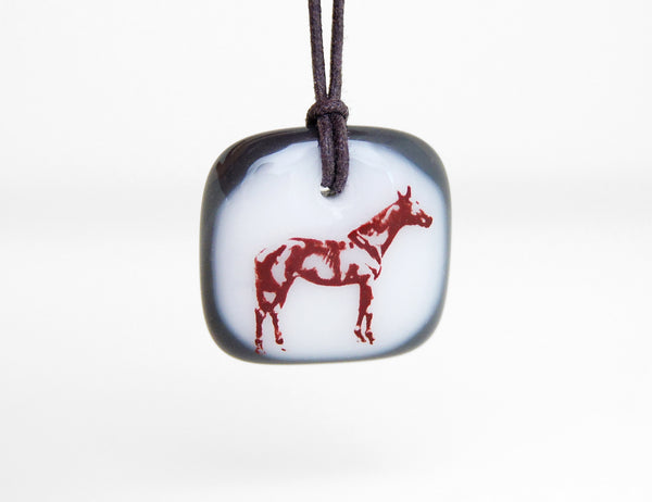 Equestrian Necklace in charcoal grey and white.