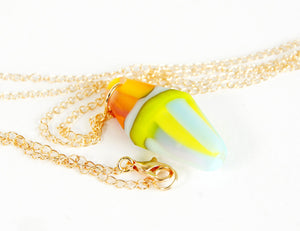 orange and green recycled glass necklace