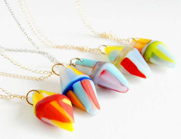 faceted frost glass pendant necklaces
