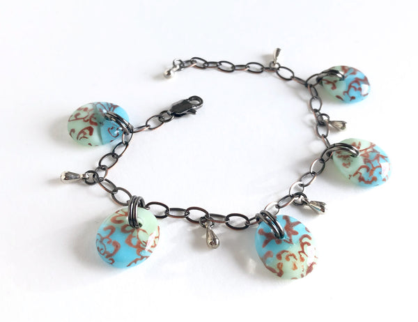 Handmade vintage style blue and green glass drop bracelet.