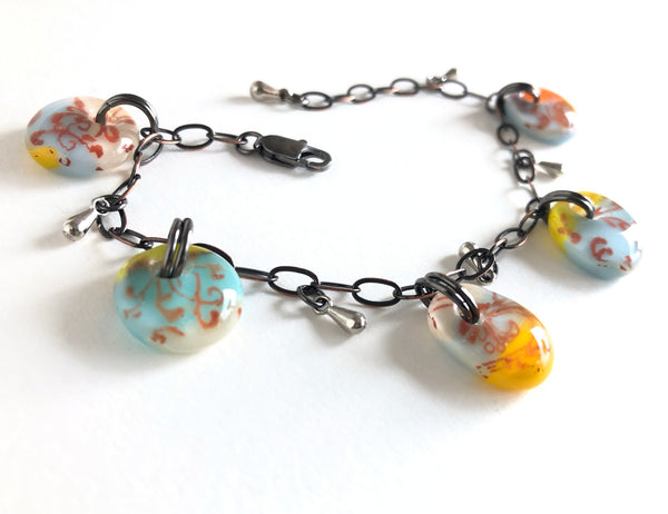 Vintage colors glass drop adjustable one of a kind bracelet.