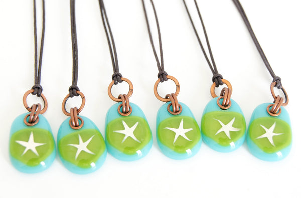 Turquoise and green glass star necklace.