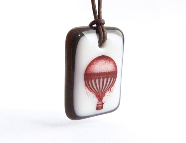 Hot Air Balloon Necklace in charcoal grey and white.