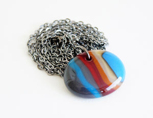 blue red and brown striped glass ooak necklace on oxidized chain