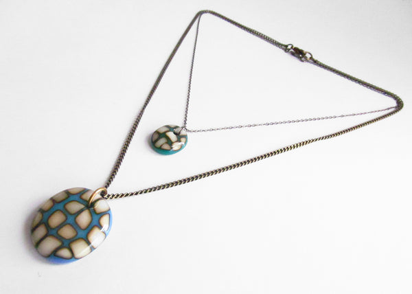 mega size bold colorful pendant necklace in glass, handmade