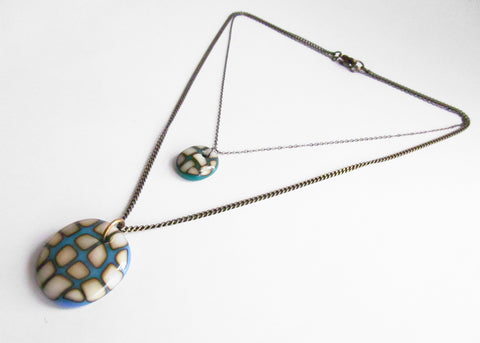 handmade turquoise glass statement necklace with chunky brass chain