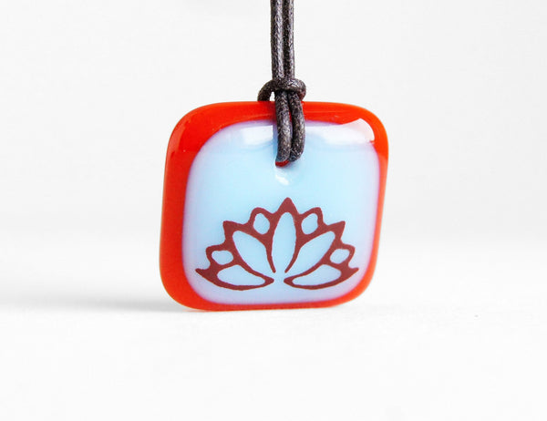 Lotus Flower Necklace in Blue and Red